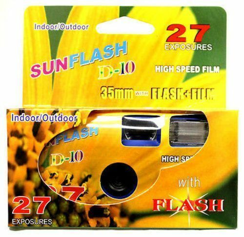 SunFlash Single-Use One Time Use Disposable 35mm Film Camera with Flash