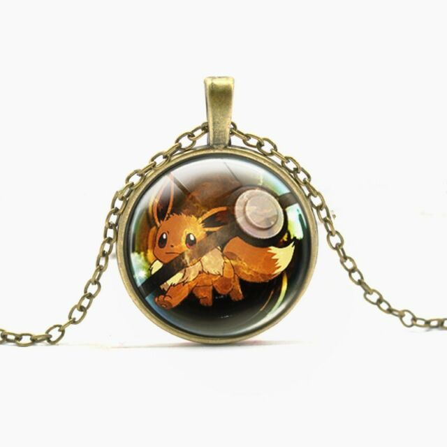 Game Pokemon GO Pocket Monster Eevee Metal Glass Animal Necklace Pendant Chain
