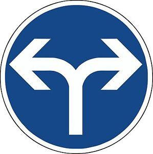 Verkehrszeichen-209-31-Fahrtrichtung-rechts-oder-links-600-amp-420mm-Durchm