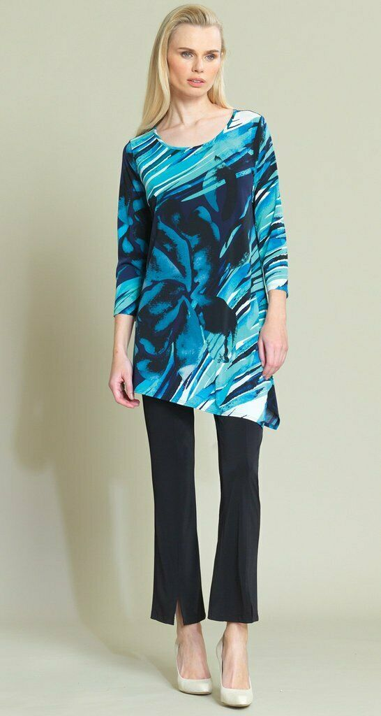 CLARA SUN WOO Navy Turquoise Floral Abstract Print Angle Hem Tunic Sz. M