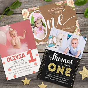 Details About 10 X Personalised 1st Birthday Invitations First Party Invites Boy Girl