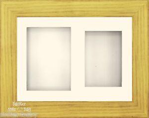 "11.5x8.5"" Oak effect Frame Kit 3D Box Display Cream 2 Aperture 6x4 Photo Picture"