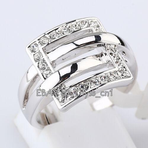 B1-R574 Fashion Band Ring 18KGP CZ Rhinestone Crystal Size 5.5-7