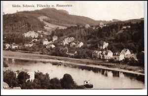Poetzscha-Sachsen-alte-Postkarte-1923-Gesamtansicht-mit-Rauenstein-ungelaufen