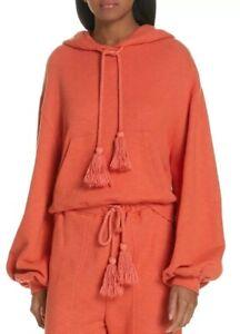 Ulla-Johnson-Mel-Hoodie-M-L-Orange-Cotton-Cropped-Pullover-Sweater-Long-Sleeve
