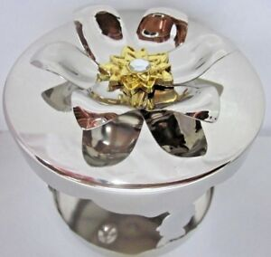 Candle-Holder-Sleeve-Lid-Gold-Flower-Gem-Bath-Body-Works-14-5-oz-3-wick