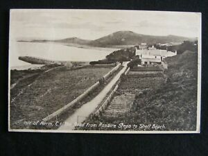1925 ISLE OF HERM RD FROM ROSAIRE STEPS TO SHELL BEACH GUERNSEY CI POSTCARD