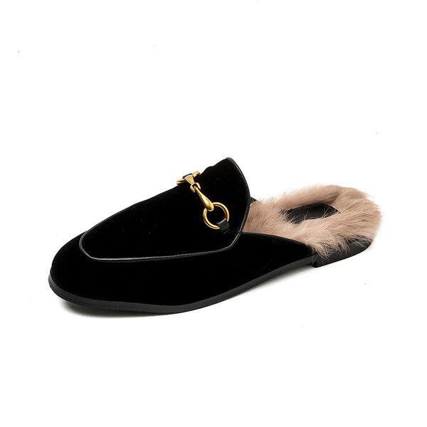 Ballerine mocassini eleganti noir lucido pelliccia simil pelle  comode 1703