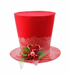 Image Is Loading RAZ Christmas RED HOLLY TOP HAT 11 034