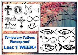 Faith Christian Bible Temporary Tattoos Body Finger Waterproof Last