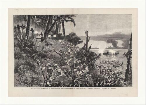 Aus unseren Colonien Die Erstürmung von Belltown in Camerun Holzstich C 0253