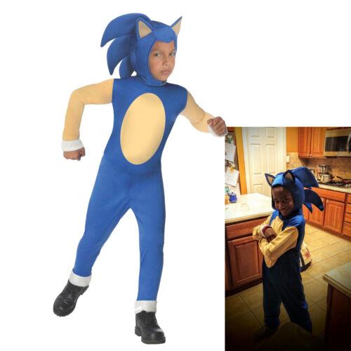 Sonic The Hedgehog Halloween Costume Kids Fancy Dress Jumpsuit Mask Child Outift