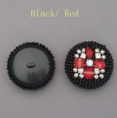 Extra Large Beaded Dome Button with Diamantes Gems#15 Size 40L 50L
