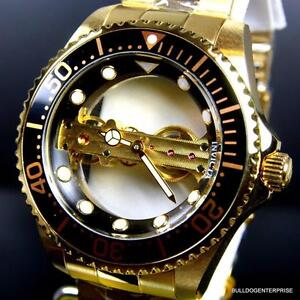 Invicta-Pro-Diver-Ghost-Bridge-Gold-Plated-Mechanical-Skeleton-Black-Watch-New