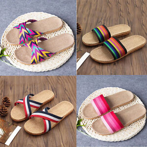 1729fdeac Women Men Summer Open Toe Flat Shoes Unisex Anti-slip Linen Home ...