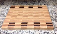 Maple With Walnut Accent Butcher Block Cutting Board NEW End Grain 18 X 24