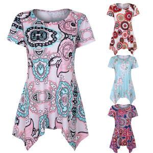 Women-039-s-Short-Sleeve-Swing-Tunic-Shirt-Summer-Floral-Tee-Tank-Top-Blouse-Shirt