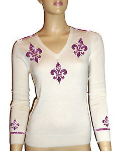 S V Luxe Rose 100 Rose Taille en 38 Col m Dor 36 cachemire Blanc Pull Oh` wq6f4H