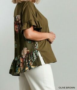 New Umgee Top 1X Olive Brown Floral Ruffle Sleeve Linen Boho Peasant Plus Size