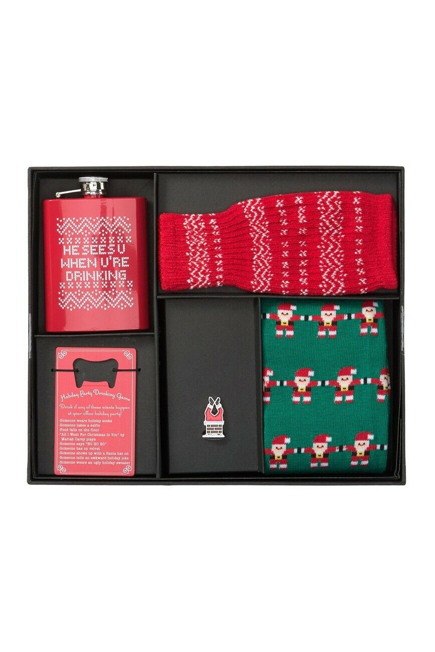 Bespoke Holiday Party Boxed Set New Festive Flask Bottle Opener Koozie socks Set