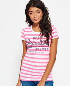 f73f70530c New Womens Superdry Vintage Logo Stripe T-Shirt Fluro Pink Stripe | eBay