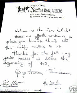 BEATLES-Fan-Club-Letter-Signed-all-Band-Members-Rock-n-Roll-Pop-Music-Yesterday