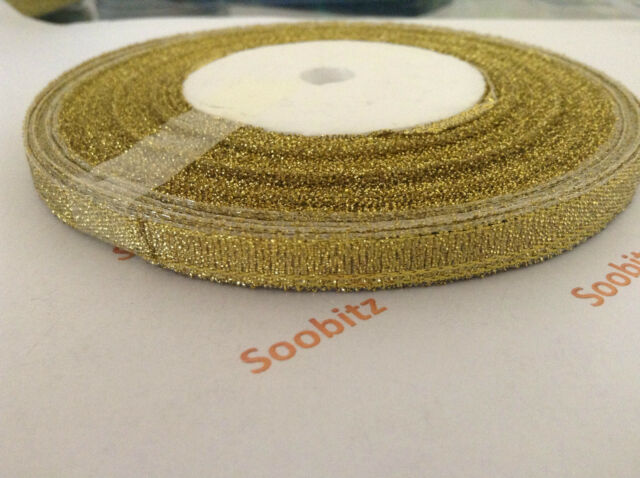 2 rolls of 25yards 6mm Glitter / Sparkle / Sparkly Ribbon - Gold or Silver