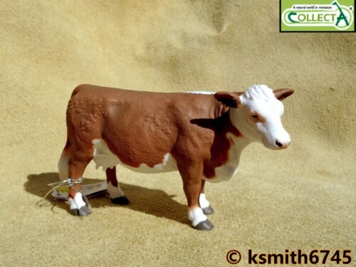 NOUVEAU CollectA Hereford vache solide Jouet en plastique Ferme Pet Animal Marron /& Blanc