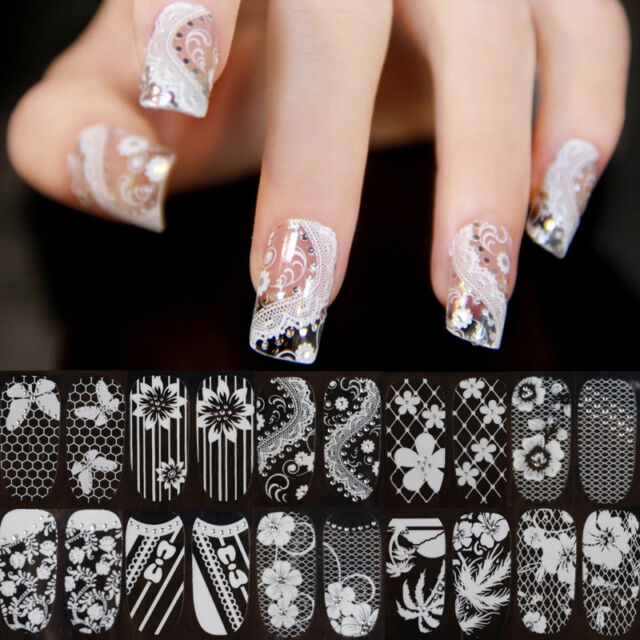Hot 3D Lace Crystal Nail Art Tips Stickers Wraps Decal Manicure Decoration DIY