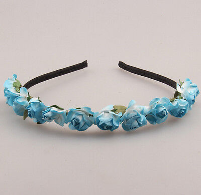 Rose Flower Crown Festival Headband Wedding Garland Floral Hairband Accessories