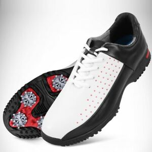 1fa585308ad Mens Golf Shoes Spiked Waterproof Leather Sneakers Anti-slip Golf ...