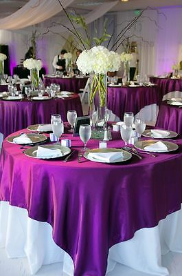 "Magenta Bridal Satin  Overlay 58""X58"" Square Tablecloth Wedding Decoration"