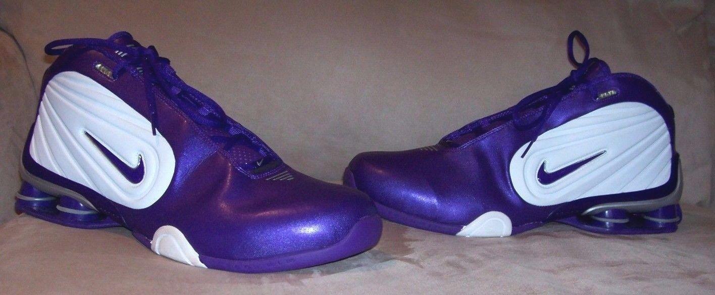 Nuova rari uomini metallici viola & white nike air shox scarpe da basket.