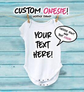 Personnalisé Bébé Grenouillère Gerber Baby Shower Cadeau Bébé Body Texte Personnalisé-afficher Le Titre D'origine BéNéFique à La Moelle Essentielle