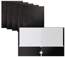 Two Pocket Portfolio Folders 50 Pack Black Letter Size Paper Folders By 50