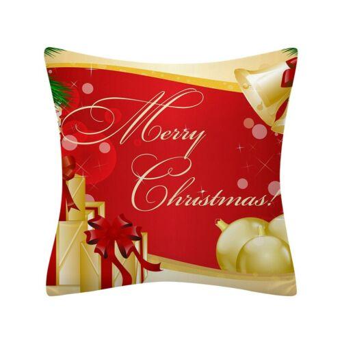 Christmas Pillow Case Glitter Polyester Sofa Throw Cushion Cover Home Decor 45cm