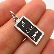 "925 Sterling Silver Vintage Old Stock Enamel ""I Love You"" Charm Pendant"