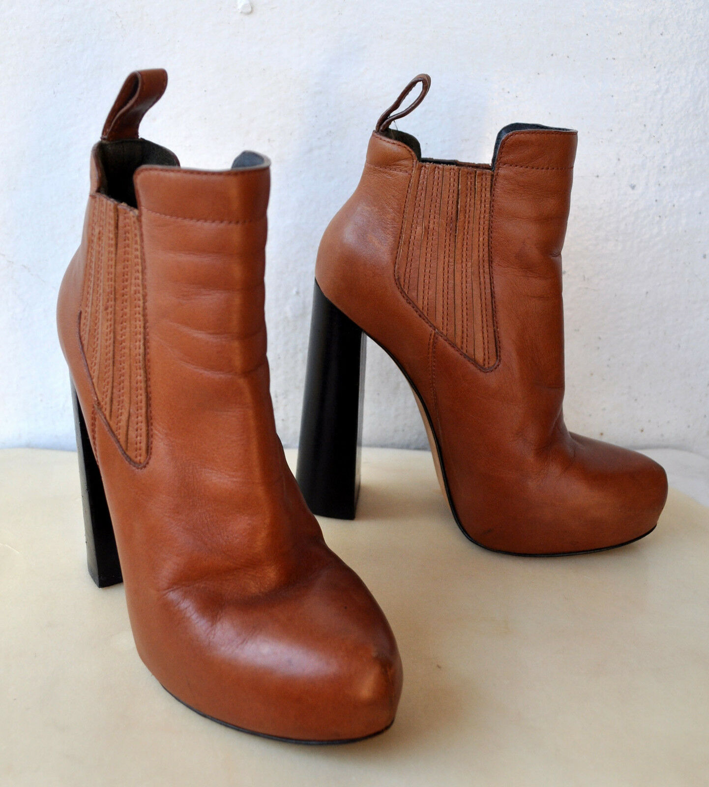 Alexander Wang Anabela Platform Chelsea Tan Leather Ankle Boots Sz 36 Sold Out