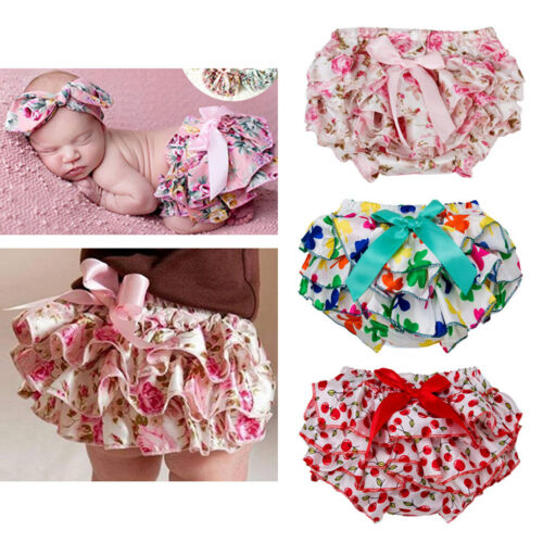 Child Baby Floral Bow Satin Shorts Toddler Ruffle Diaper Cover Bloomer Panties