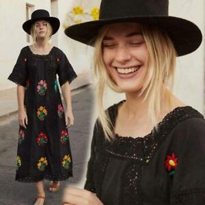 Vintage-70s-hippie-Mexican-Boho-maxi-Dress-ethnic-floral-Floral-Embroidery-New-Y