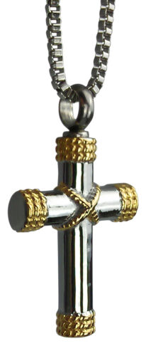 Cremation Jewellery - Memorial Ash Urn Pendant Keepsake - Golden Cross