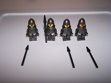 LEGO® CASTLE minifigure x4 armor armour lotr lot helmet metallic silver spear