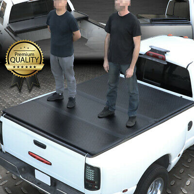 For 1999 2018 Ford Super Duty 8ft Long Bed Frp Hard Solid Tri Fold Tonneau Cover For Sale Online Ebay
