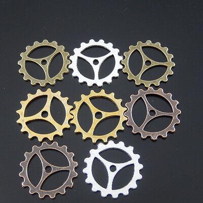 37999 Antiqued Mixed Color Vintage Alloy Wheel Gear Pendant Charms Decor 60PCS