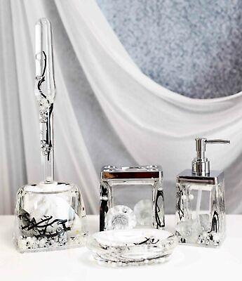 Nautical Silver Pearls Leaves 5 Piece Chic Bathroom Vanity Accessories Gift Set Ebay