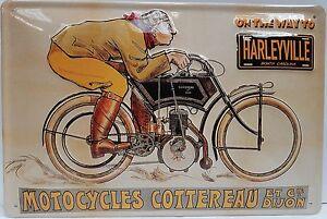 harleyville-Moto-Bicicleta-Garaje-Vintage-Divertido-Medio-3d-METAL-CON-RELIEVE