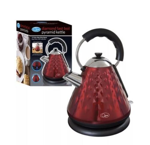 Red Diamond Design 1.7L Pyramid Kettle 3000w Rapid Boil Cordless Easy Pour