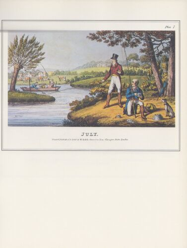 "1974 Vintage FISHING /""JULY/"" EARLY FISHERMEN /& BOATS COLOR Art Print Lithograph"