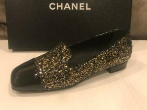 648cef830208 CHANEL 17K Milky Way Glitter Patent Cap Toe Loafers Moccasin Shoes ...