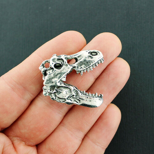 BULK 5 Dinosaur Charms Antique Silver Tone Skull SC4731